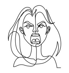 screaming woman one line art portrait vector image