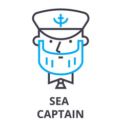 sea captain thin line icon sign symbol vector image