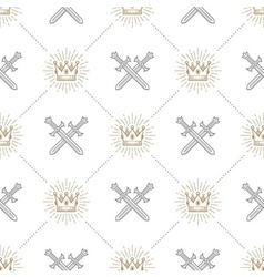 Seamless background with swords and crowns vector