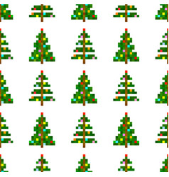 seamless pattern of pixel art christmas tree vector image