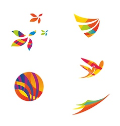 set colourful travel icons vector image