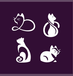 set logo cats pet emblem design on vector image
