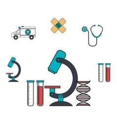 Set microscope services medical isolated vector