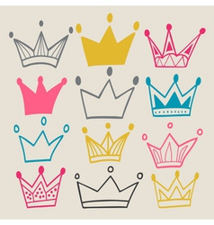 Set of cute cartoon crowns vector