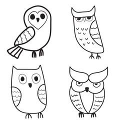 Set of cute hand drawn owls vector