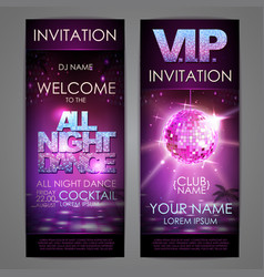 set of disco background banners all night dance vector image