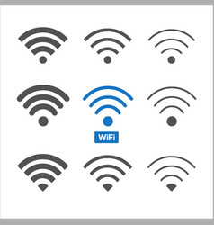 set of nine different wireless and wifi icons for vector image