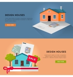 Set of Real Design Houses Web Banners vector image