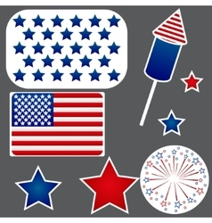 Set of stickers for Independence Day vector image