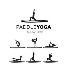 Set paddle yoga vector
