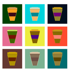 set pixel icons of coffee to go vector image