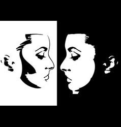 sketch a woman face vector image