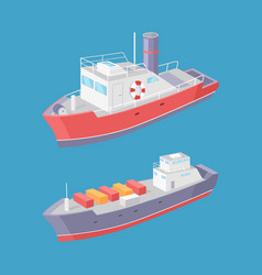Steamboat and cargo ship marine transport vessels vector