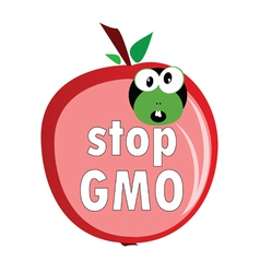 stop gmo with worm color vector image
