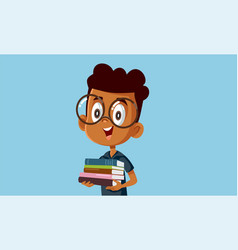 Student boy holding textbooks cartoon vector
