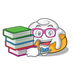 Student with book cinnamon roll mascot cartoon vector