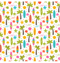 summer seamless pattern with surfboards palm vector image
