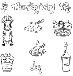Thanksgiving with hand draw in doodle set vector