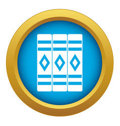 Three literary books icon blue isolated vector