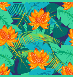 Tropical pattern with lotus 1 vector
