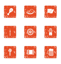 Village utopia icons set grunge style vector