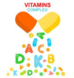Vitamin complex pill capsule and vitamins vector