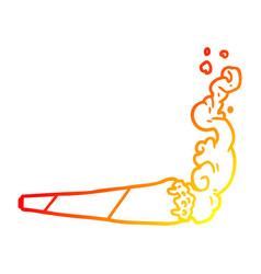 warm gradient line drawing marijuana joint vector image