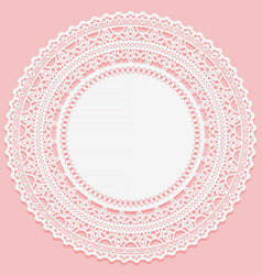 white lacy napkin on a pink background openwork vector image