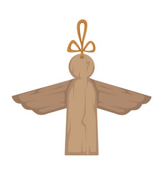 wooden angel with wings christmas decor house vector image