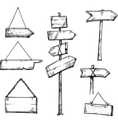 Wooden signpost with arrows vector