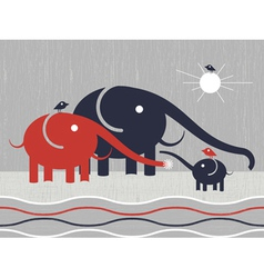 elephants family vector image vector image