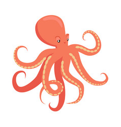 red octopus cartoon flat vector image vector image