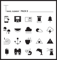 Travel Element Line Icon Set 5Beach and Sea vector image vector image