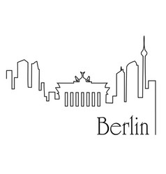 berlin city one line drawing background vector image vector image