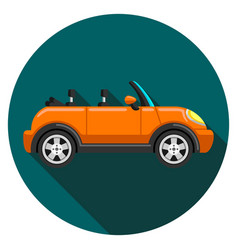 flat icon convertible compact car with long shadow vector image vector image