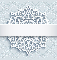Ornamental background with cutout paper doily vector