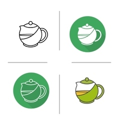 Tea infuser kettle flat design linear and color vector image vector image