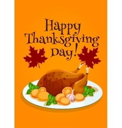 Thanksgiving Day roasted turkey greeting design vector image vector image