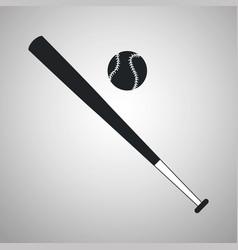 baseball bat and ball black and white vector image