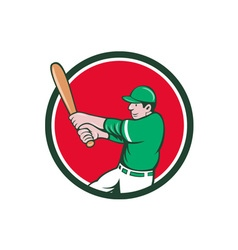 Baseball Player Batter Swinging Bat Circle Cartoon vector image