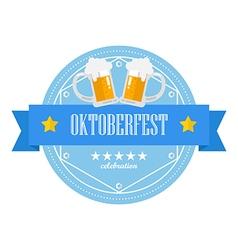 Beer festival oktoberfest retro flat badge vector