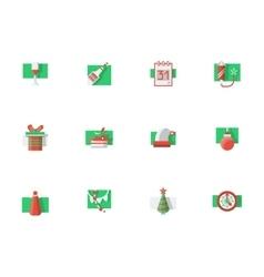 Christmas holidays flat color icons set vector image
