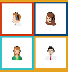flat icon call set of secretary help service and vector image vector image