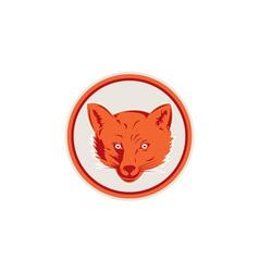 Red Fox Head Front Circle Retro vector image vector image