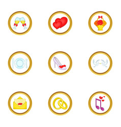 anniversary icons set cartoon style vector image vector image