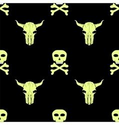Bull and man skull silhouette seamless pattern vector