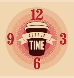 coffee time typographical vintage style poster vector image vector image