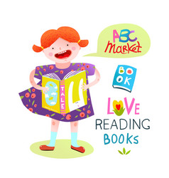 girl child reading a book happy studying vector image