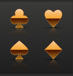 golden cards suits icons vector image