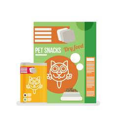 icon of cat food set icon design for pet shop vector image